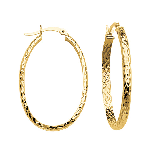 10kt Yellow Gold 1 1/4in Diamond-cut In and Out Oval Hoop Earrings 3mm