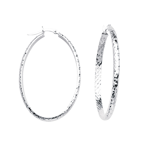 10kt White Gold 1 2/3in Diamond-cut In and Out Oval Hoop Earrings 3mm