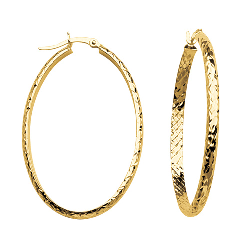 10kt Yellow Gold 1 2/3in Diamond-cut In and Out Oval Hoop Earrings 3mm
