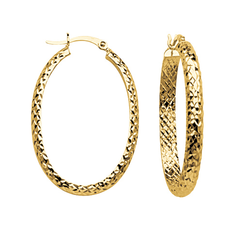 14kt Yellow Gold 1 1/4in Diamond-cut In and Out Oval Hoop Earrings 3mm