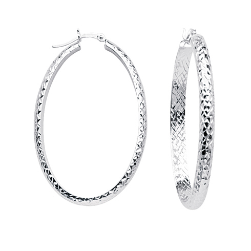 10kt White Gold 1 2/3in Diamond-cut In and Out Oval Hoop Earrings 4mm
