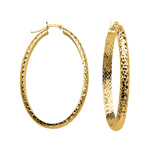 10kt Yellow Gold 1 2/3in Diamond-cut In and Out Oval Hoop Earrings 4mm