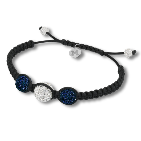 Sterling Silver Michigan Wolverines Ball Bracelet