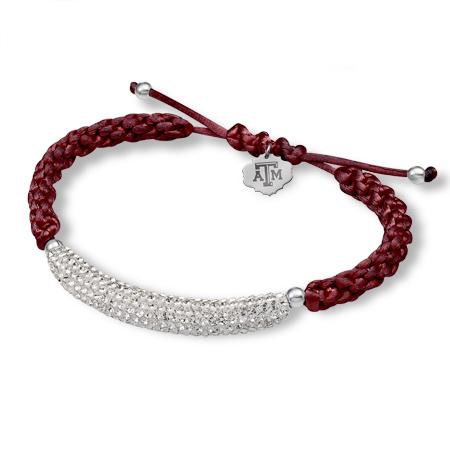 Sterling Silver Texas A&M University Bar Bracelet