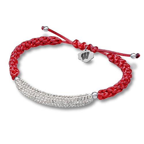 Sterling Silver Wisconsin Badgers Bar Bracelet