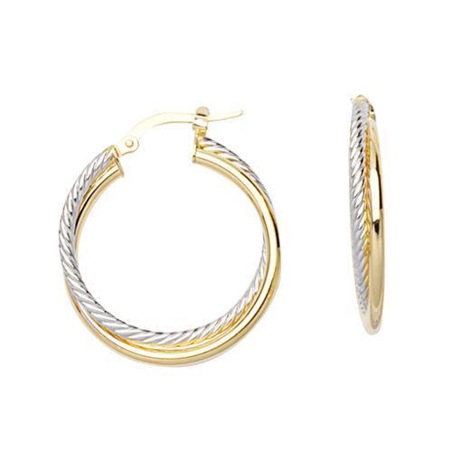 14kt Two-tone Gold 3/4in Intertwine Tube Hoop Earrings