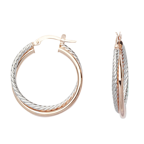 14kt Rose and White Gold 3/4in Intertwine Tube Hoop Earrings
