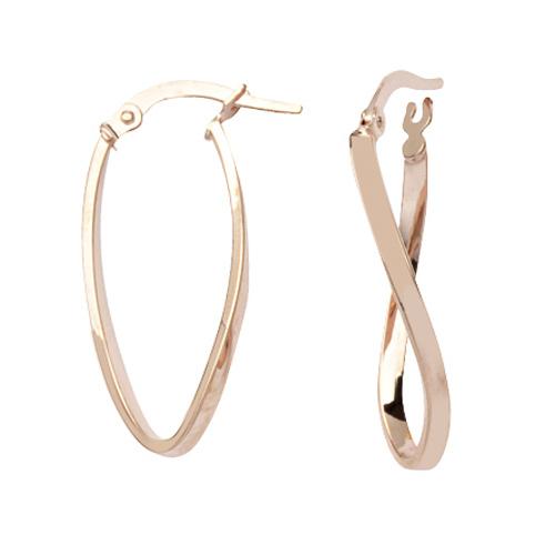 14kt Rose Gold 1in Figure Eight Hoop Earrings