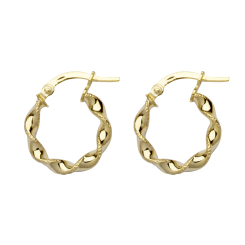 10kt Yellow Gold 1/2in Twisted Hoop Earrings