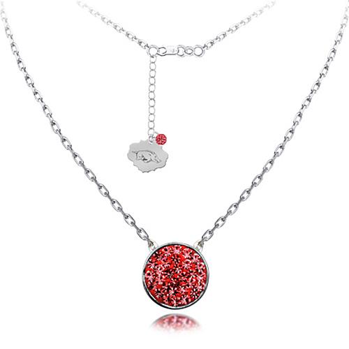 Sterling Silver Arkansas Razorbacks Crystal Disc Necklace