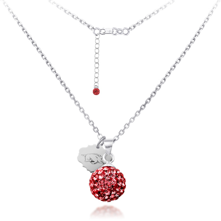 Sterling Silver Arkansas Razorbacks Crystal Ball Necklace