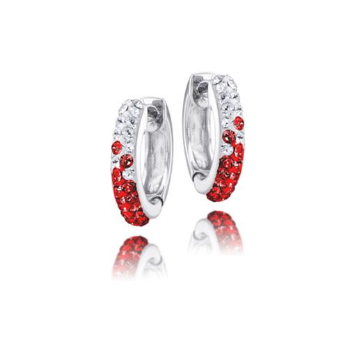 Sterling Silver Arkansas Razorbacks Crystal Huggie Earrings