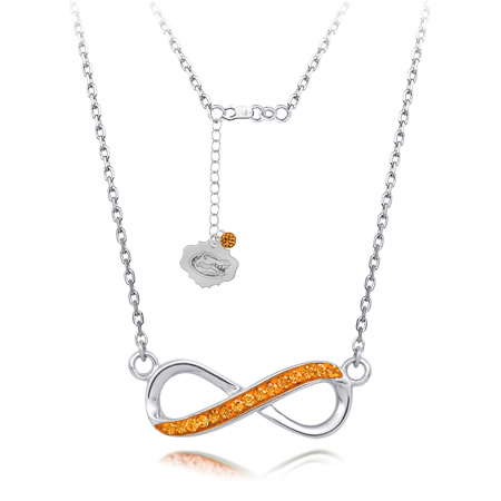 Sterling Silver University of Florida Crystal Infinity Necklace