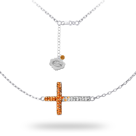 Sterling Silver University of Florida Crystal Cross Necklace
