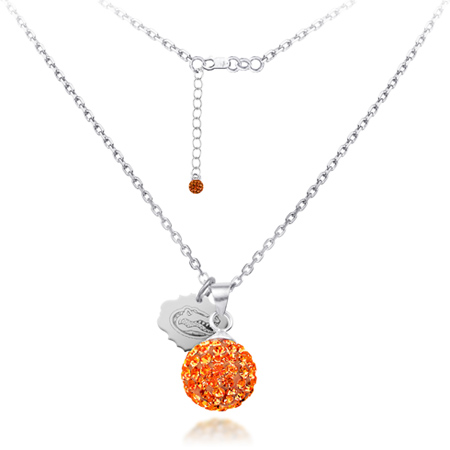 Sterling Silver University of Florida Crystal Ball Necklace