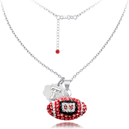 Sterling Silver Texas Tech Crystal Football Necklace