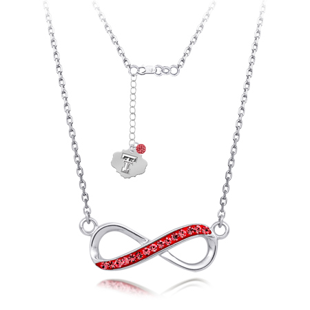 Sterling Silver Texas Tech Crystal Infinity Necklace