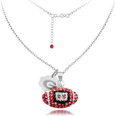 Sterling Silver Georgia Bulldogs Crystal Football Necklace
