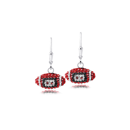Sterling Silver Georgia Bulldogs Crystal Football Earrings