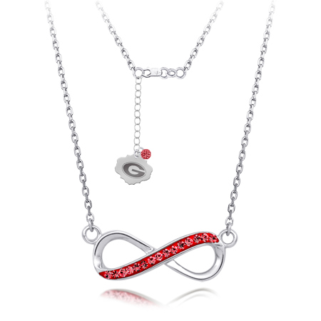 Sterling Silver Georgia Bulldogs Crystal Infinity Necklace
