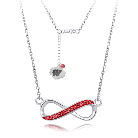 Sterling Silver Wisconsin Badgers Crystal Infinity Necklace