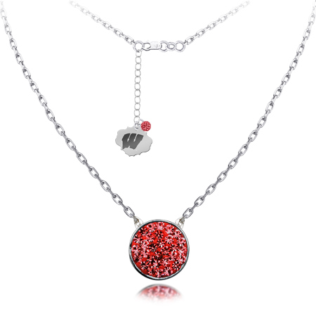 Sterling Silver Wisconsin Badgers Crystal Disc Necklace