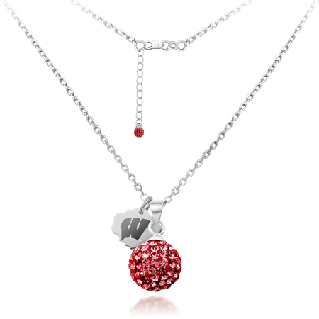 Sterling Silver Wisconsin Badgers Crystal Ball Necklace