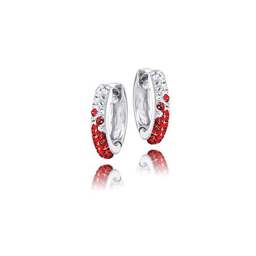 Sterling Silver Wisconsin Badgers Crystal Huggie Earrings