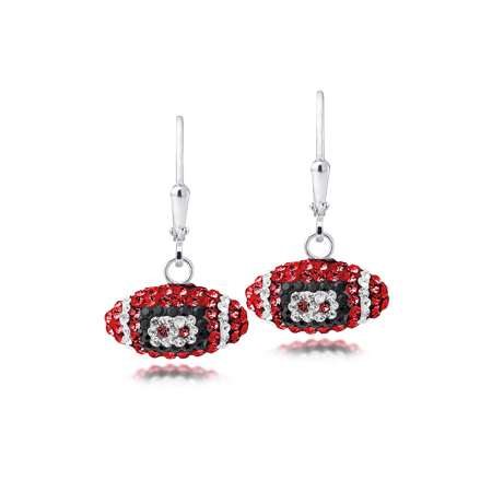 Sterling Silver Oklahoma Sooners Crystal Football Earrings