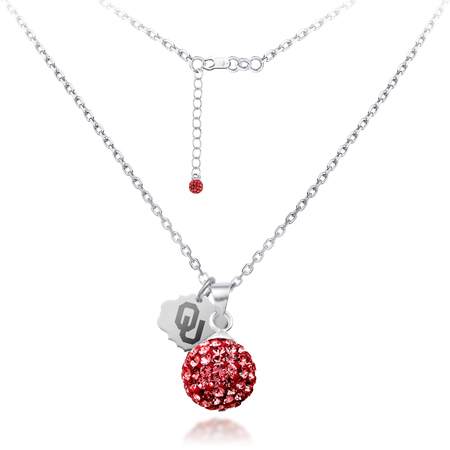 Sterling Silver Oklahoma Sooners Crystal Ball Necklace