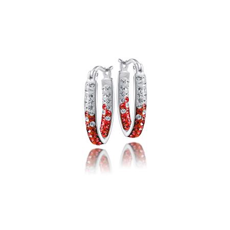 Sterling Silver University of Alabama Crystal Hoop Earrings