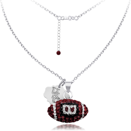 Sterling Silver South Carolina Crystal Football Necklace