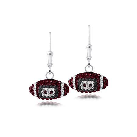 Sterling Silver South Carolina Crystal Football Earrings