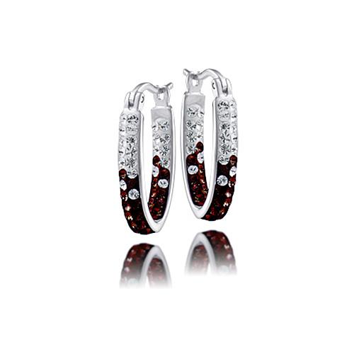 Sterling Silver South Carolina Crystal Hoop Earrings