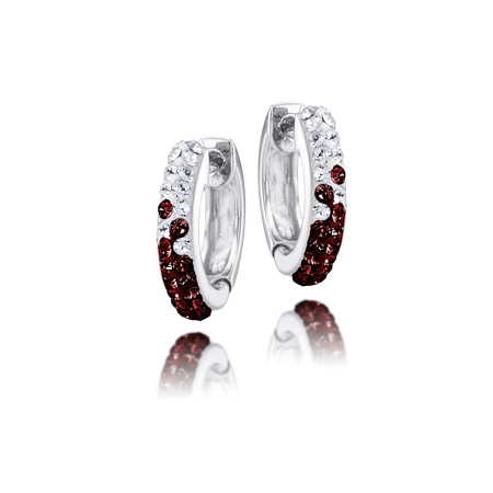 Sterling Silver South Carolina Crystal Huggie Earrings