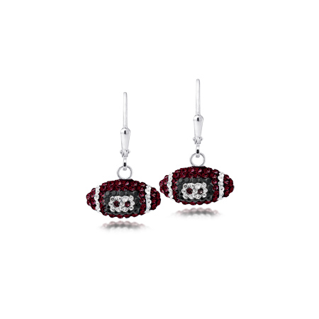 Sterling Silver Florida State University Crystal Football Earrings
