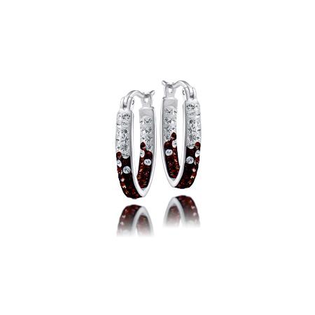 Sterling Silver Florida State University Crystal Hoop Earrings