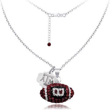 Sterling Silver Texas A&M University Crystal Football Necklace