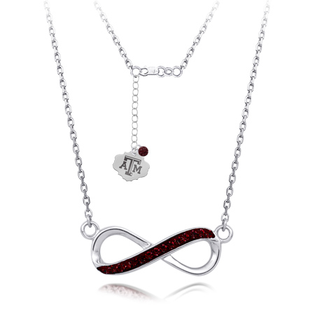 Sterling Silver Texas A&M University Crystal Infinity Necklace