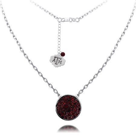 Sterling Silver Texas A&M University Crystal Disc Necklace