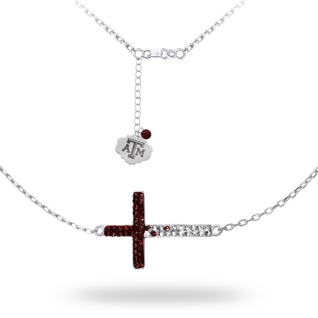 Sterling Silver Texas A&M University Crystal Cross Necklace
