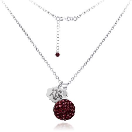 Sterling Silver Texas A&M University Crystal Ball Necklace