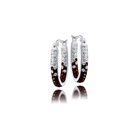 Sterling Silver Texas A&M University Crystal Hoop Earrings