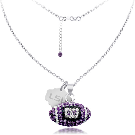 Sterling Silver LSU Crystal Football Necklace