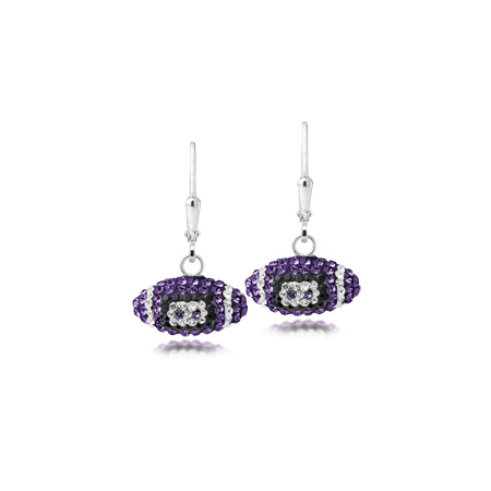 Sterling Silver LSU Crystal Football Earrings