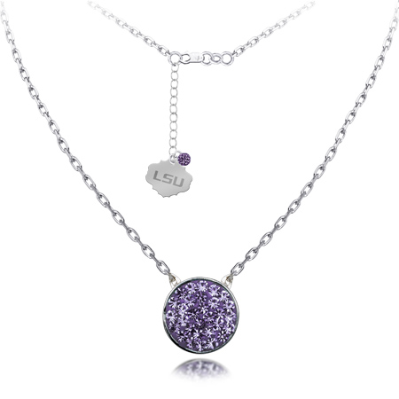 Sterling Silver LSU Crystal Disc Necklace
