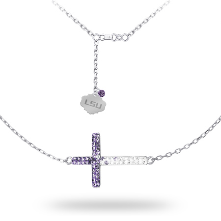 Sterling Silver LSU Crystal Cross Necklace