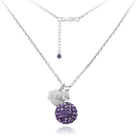 Sterling Silver LSU Crystal Ball Necklace