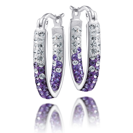 Sterling Silver LSU Crystal Hoop Earrings