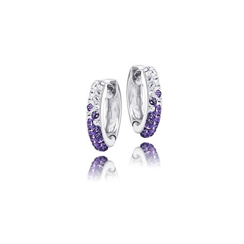 Sterling Silver LSU Crystal Huggie Earrings